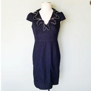 London Times Denim Zipper Trim Ruffle Dress